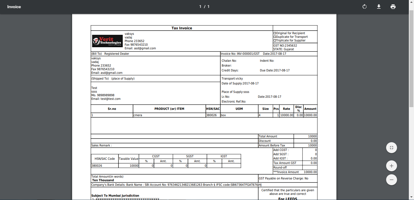 GST Invoice Billing Software with Inventory System - Verit Technologies